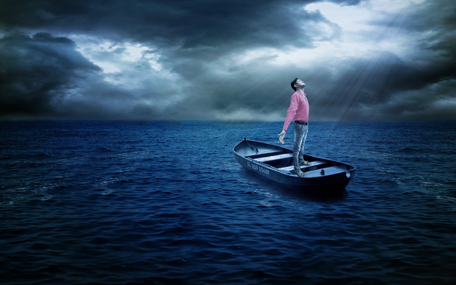 photo manipulation boat wallpaper by sunil anand