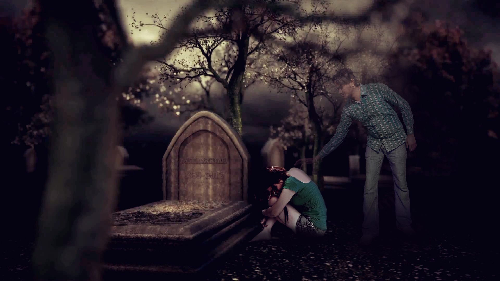 photo manipulation grave yard boy and girl wallpaper
